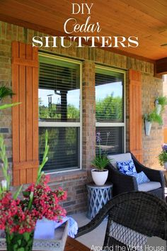 Learn how to make window shutters at home cheaply! We've these 30 DIY shutters that includes interior, exterior, plantation, hurricane, and wood shutters. Diy Shutters, Window Shutters, Outdoor Shutters, Wooden Shutters Exterior, Rustic Shutters, House Shutters, Architecture 101, Modern Farmhouse Exterior, Craftsman Exterior