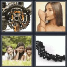 11 best 4 pics 1 word 5 letters images on pinterest calligraphy 4 pics 1 word dominoes bicycle gears girl with chain bracelet three kids expocarfo Images