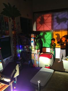 animal silhouettes, magna tiles, overhead projector