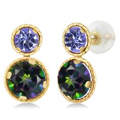 55dc0a1c7 3.90 Ct Round Green Mystic Topaz Blue Mystic Topaz 14K Yellow Gold Earrings  >>