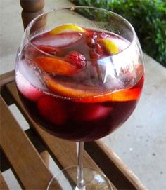 Best Sangria Eva:   1 bottle of red wine  • ½ c peach schnapps  • ½c pomegranate juice  • ½c fresh lemon juice (use fresh lemons!)  • 2 peaches, sliced  • 1 orange, sliced  • 2 lemons, sliced  • ½ pint of raspberries   • 24oz of raspberry flavored soda water (or plain club soda) MIX IT...CHEERS!