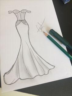 Dress Design Drawing, Dress Design Sketches, Fashion Design Sketchbook, Fashion Illustration Sketches, Art Drawings Sketches Simple, Fashion Design Drawings, Pencil Art Drawings, Fashion Sketches, Easy Drawings