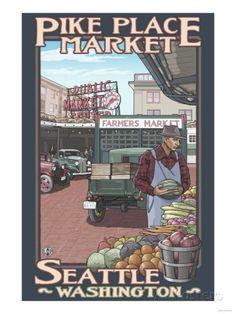 Pike Place Market, Seattle, Washington Posters bij AllPosters.nl