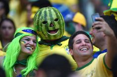 A Brazil supporter wearing a watermelon mask cheers prior to the quarter-final football match between Brazil and Colombia at the Castelao Stadium in Fortaleza on July 4, 2014.