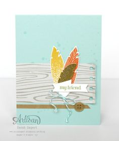 Create a simple make n' take project using the Four Feathers stamp set and coordinating Feathers Framelits Dies. ~ Sarah Sagert