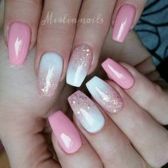 White And Pink Nail Designs Gallery pink and white gel nail design with glitter pink gel nails White And Pink Nail Designs. Here is White And Pink Nail Designs Gallery for you. White And Pink Nail Designs sweet soft pink nails with white glitter. Pink Gel Nails, Summer Acrylic Nails, Gel Nail Art, Summer Nails, Pink Nail Art, Pink White Nails, Nail Nail, Glitter Ombre Nails, Acrylic Nail Designs For Summer