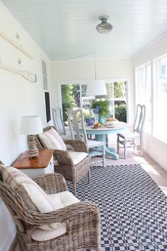 sunroom makeover coastal beachy redo, chalk paint, flooring, home decor, painted furniture, porches Ceiling for the bedroom?