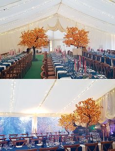 Autumn marquee decoration with vivid orange-leaved trees. Photos and delicious food from Marquee Wedding, Tent Wedding, Marquee Decoration, Autumn Wedding, Delicious Food, Trees, Wedding Ideas, Orange, Photos