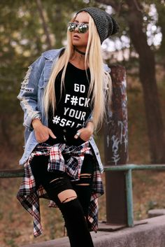 "Ripped denim jacket with T-Shirt ""Go F#ck Your #Selfie"", Plaid shirt, Black Ripped Knee jeans, Choker necklace & Round sunglasses"