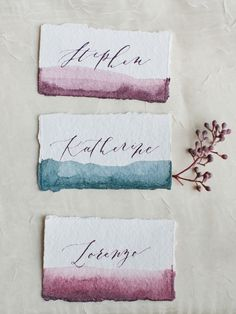 Watercolor edge name place cards - Autumn Orchard Wedding Inspiration Wedding Table, Wedding Day, Trendy Wedding, Wedding Venues, Water Theme Wedding, Wedding Advice, Wedding Programs, Wedding Bells, Wedding Name Cards
