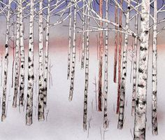 Birch Forest Right Archival Pigment Print by wileypurkey on Etsy
