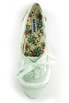 Not Rated Borderline Mint and White Crocheted Spectator Oxfords - $39.00