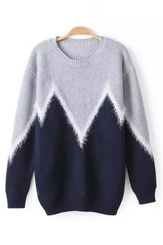 Dark Blue Wave Printed O-neck Long Sleeves Sweater