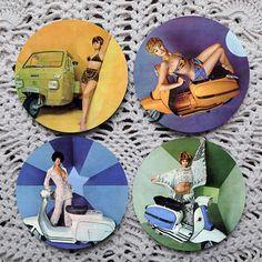 Groovy Baby  Vintage Lambretta Scooter Pinup Girls coasters by Polkadotdog