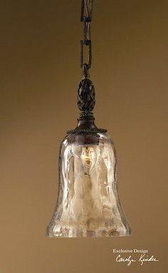 Tuscan Brown Metal Seeded Glass Galeana Kitchen Island Bar Pendant Light Fixture