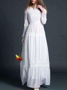 Plain white cotton maxi dress