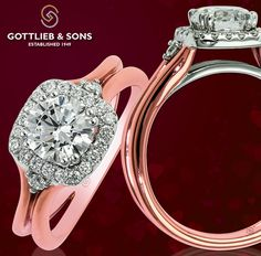 Just #SayYes to this #modern rose and white gold diamond #halo engagement ring. Visit your local #GottliebandSons retailer and ask for style number 29660. http://www.gottlieb-sons.com/bridal/engagement-rings/29660