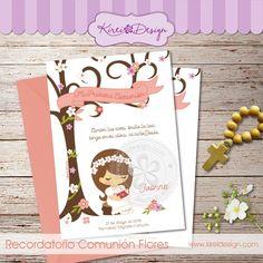 Recordatorio comunion Flores para niña