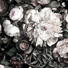 Dark Floral II Black Desaturated - Floral Wallpaper - by Ellie Cashman Design