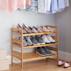 3 Shelf Shoe Rack, Shoe Shelf In Closet, Large Shoe Rack, Shoe Shelves, Shoe Storage, Shoe Rack Walmart, Homemade Shoe Rack, Bamboo Construction, Boots Store
