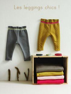 I like the waistband on these leggings - Baby Hose, Leggins, Le legging chic, Knitting For Kids, Sewing For Kids, Baby Sewing, Free Sewing, Baby Couture, Couture Sewing, Short Niña, Diy Vetement, Baby Leggings