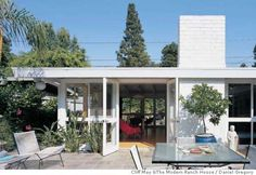 ###Live Caption:The 1953 Pacheco-Quirion House in Long Beach by Cliff May has an outdoor dining area between the garage and house This image is from Cliff May and The Modern Ranch House by Daniel Gregory (Rizzoli).  P136-7###Caption History:The 1953 Pacheco-Quirion House in Long Beach by Cliff May has an outdoor dining area between the garage and house This image is from Cliff May and The Modern Ranch House by Daniel Gregory (Rizzoli).  P136-7###Notes:###Special Instructions: