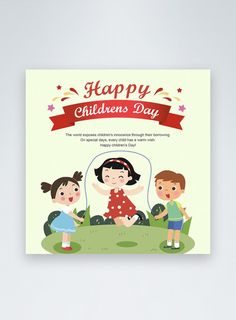 Green cartoon children's day social media post happy childrens day,grassland,social media ,discount,children,celebration,colourful,promotion,cartoon#Lovepik#template
