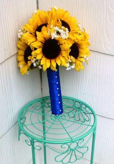 Sunflower Bouquet Sunflower Wedding Yellow by SilkFlowersByJean, $65.00