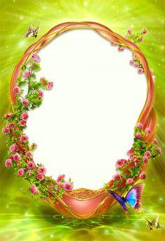 green-flowers frame