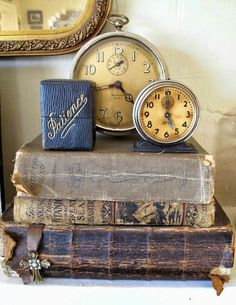 Gorgeous colors in this vignette of bools and clocks