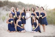 Outer Banks Weddings, OBX Weddings, Beach Weddings, Outer Banks Beach Weddings, Beach Weddings, Bride with Bridesmaids, Bridal Party, Bridesmaids, Blue Bridesmaid Dresses, www.courtneyhathaway.com