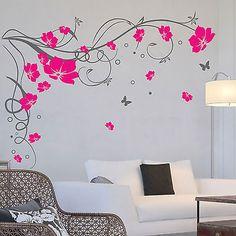 Grandes Mariposa Vid flores pegatinas de pared / Wall Decals
