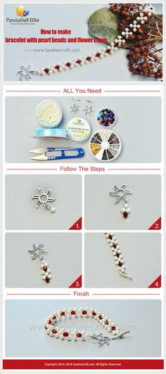 #Beebeecraft shows u how to make #bracelet with #pearlbeads and #flower clasp.