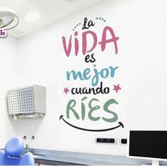 VINILOS DECORATIVOS - DIENTES - ODONTOLOGIA Kids Health, Dental Health, Dental Reception, Dental Posters, Diy Wall Painting, Cheer Quotes, Dental Art, Dental Office Design, Clinic Design