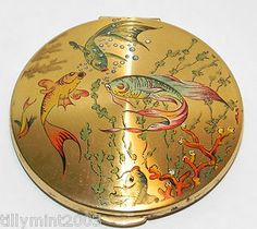 Vintage 1950's KIGU Exotic Swimming Marine Fish Powder Compact | eBay