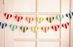 striped origami heart garland - how about orange