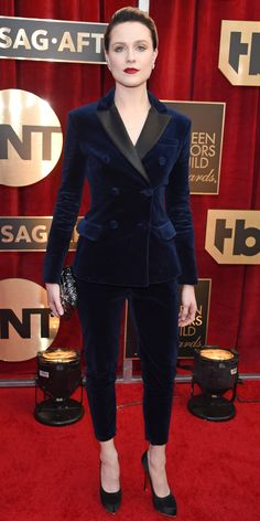 SAG Awards 2017: Evan Rachel Wood in Altuzarra with Tiffany & Co. jewelry, a Judith Leiber Couture clutch, and Salvatore Ferragamo shoes.