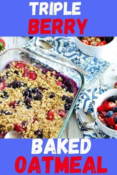 This Triple Berry Baked Oatmeal is a tried and true family favorite breakfast recipe! It's super easy to make with simple ingredients and is gluten free and dairy free. Such a great healthy breakfast recipe idea!