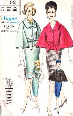 Vogue 4192 Size 14 1961 Cape  Blouse Skirt Bust 34 by pcraine, $8.99