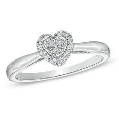 1/10 CT. T.W. Diamond Heart Cluster Promise Ring in 10K White Gold