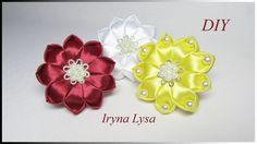 МК: Квіти з атласних стрічок для волосся, flowers satin ribbons DIY #45
