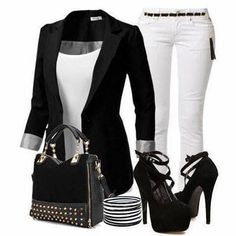 Black Long Jacket with White Jeans and Black High Heels