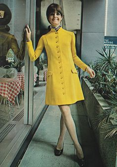 """Just Seventeen magazine, September 1968 """"Our girl on the move elects a double knit that puts her in the young executive class til five...gives her a super-look for the evening's fun!"""" #60s"""