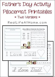 Free Father's Day Activity Placemat Printables (with a printing and a cursive version)