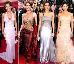 Halle Berry at the Oscars -- 2001: Badgley Mischka; 2002: Elie Saab; 2005: Atelier Versace; 2011: Marchesa
