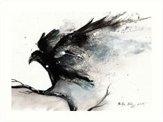 Abstract raven ink art von siljaerg