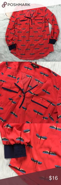 """Dragonfly print pink long sleeve blouse Style&Co. pink spilt neck long sleeve top with dragonfly pattern. Womens size medium, gently used with no flaws. Please see photos for exact details.  Armpit to armpit-23"""" length- front 23"""" Back 30"""" Style & Co Tops Blouses"""