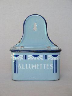 French Art Deco enamelware match holder, 1920s.