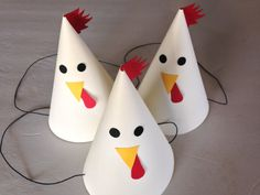 ROOSTER Party Hats Set of 6 No animal farm by AnnaliseJDesigns