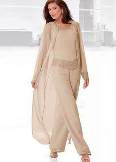 Alluring Pant Suits Chiffon Scoop Neckline Full-length Mother Of The Bride Dresses With Beadings
